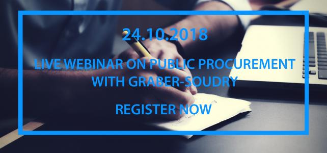 LIVE WEBINAR ON PUBLIC PROCUREMENT WITH GRABER-SOUDRY – 24.10.2018
